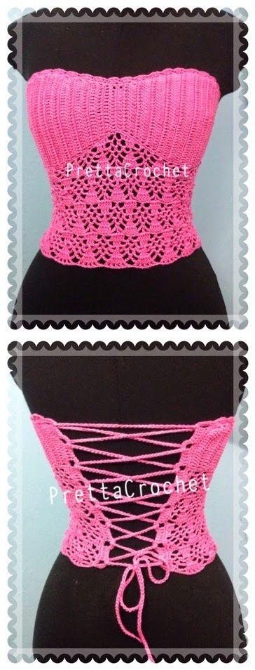Pretta Crochet: Corset de Crochet Sweet. Passo a passo.