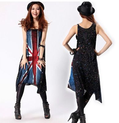 Fashion Colored Drawing Round Neck Maxi Dress Summer Women Union Jack Plus Size Loose Casual Vest One-piece Dress US $16.99