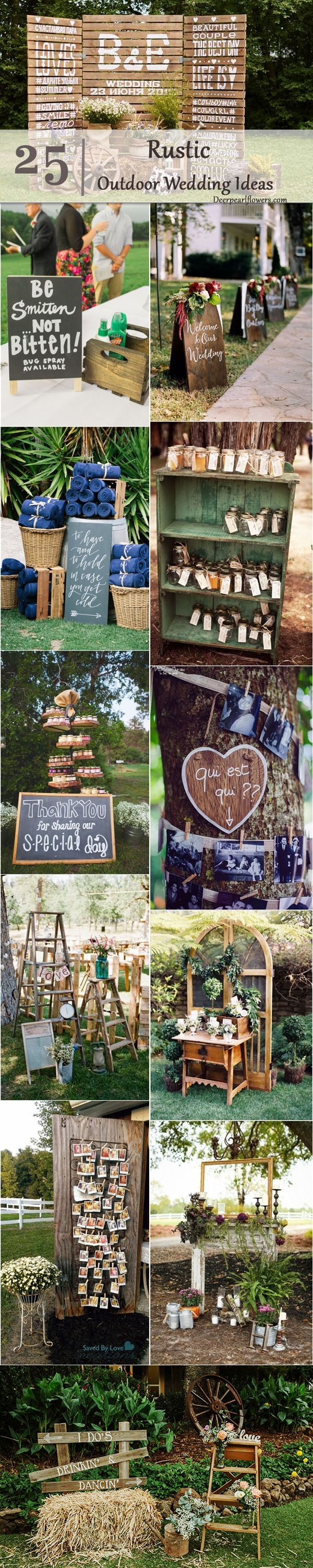 Rustic outdoor wedding decor ideas / http://www.deerpearlflowers.com/rustic-outdoor-wedding-ideas-from-pinterest/