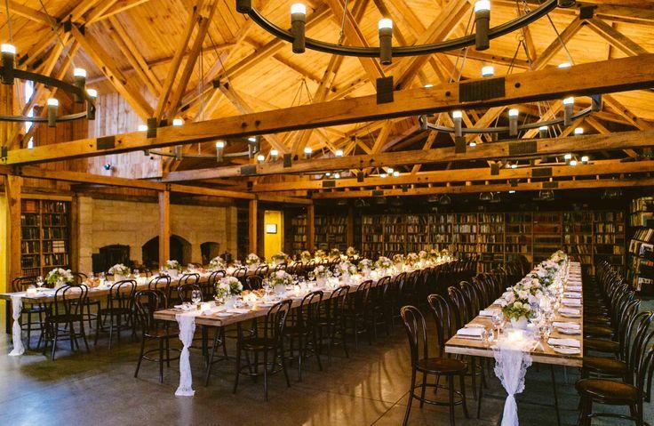 Long Table Set Up Inside Book Barn At Bendooley Estate