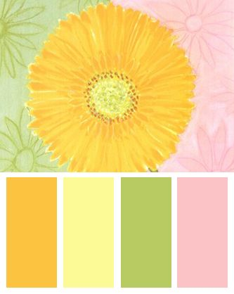 Yellow Color Palette Inspired By: Yellow Daisy, Art Print by Dona Turner