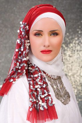 Red and white Bridal Hijab