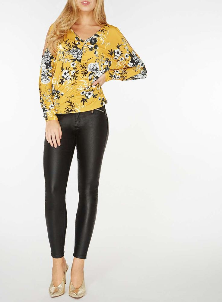 Womens Yellow Floral Ruched Top- Yellow