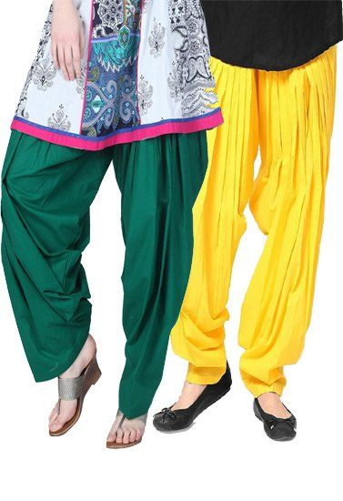 Green Yellow Full Pleated Patiala Salwar Bottom