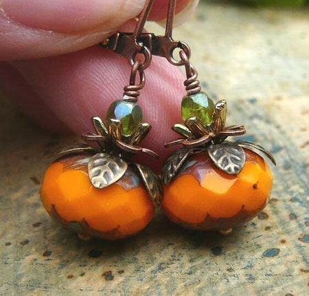 Pumpkin Earrings (from a 2009 the Art Zoo blogpost)  Perfect for Halloween and Thanksgiving wear.