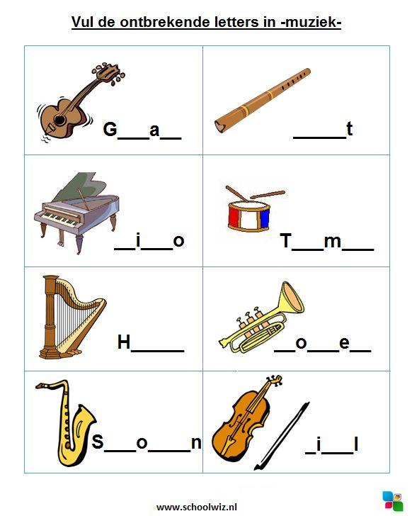 Vul de ontbrekende letters in: Muziekinstrumenten. #puzzels #taal #kinderpuzzel #muziek #muziekinstrumenten #schoolwiz