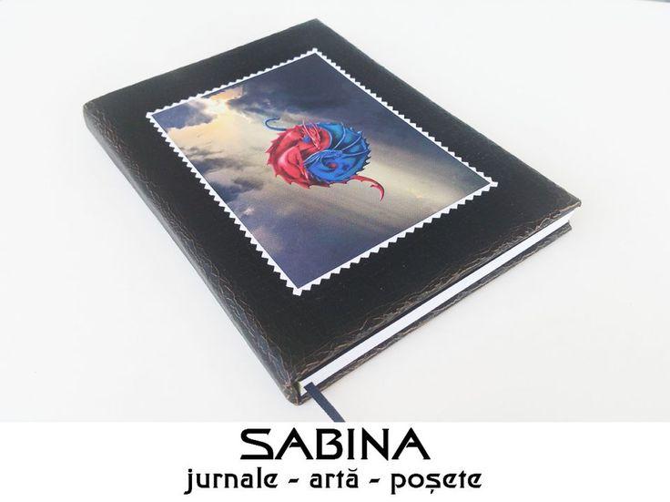 Jurnal A5 - Yin & Yang, Jurnal personalizat, piele ecologica, pictura digitala