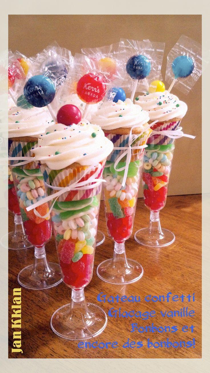 Sektgläser oder ähnliche Gläser zur Hälfte mit Süßkram befüllen und obendrauf einen Muffin ins Glas setzen. Dann das Ganze mit Schlagsahne und evtl. bunten Streuseln dekorieren.