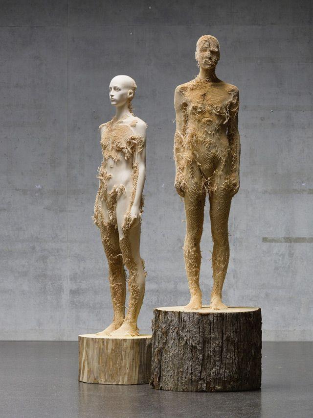Distressed Wood Figures by Aron Demetz