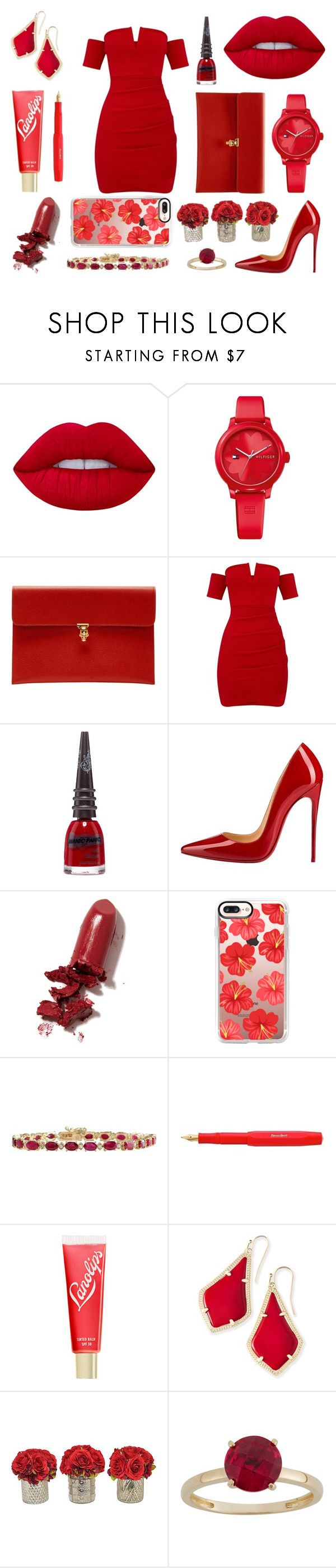 """Red!"" by marinette28 ❤ liked on Polyvore featuring Lime Crime, Tommy Hilfiger, Alexander McQueen, Manic Panic NYC, Christian Louboutin, LAQA & Co., Casetify, Lano, Kendra Scott and The French Bee"