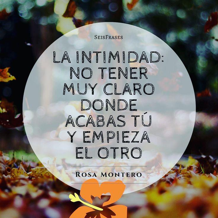 La intimidad: no tener muy claro donde acabas tú y empieza el otro. Rosa Montero, La Ridícula Idea De No Volver A Verte.
