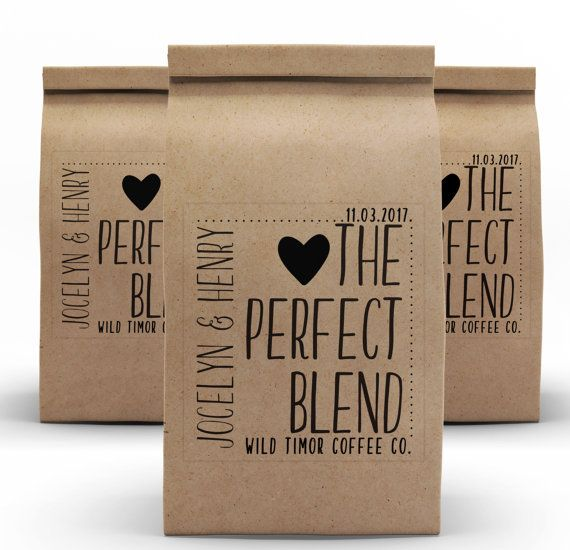 Customized Labels with our Kraft brown coffee favor bags makes the perfect little package for your guest to take their coffee home. The best is these bags have a sealing attachment. This allows your guests to keep their ground coffee or coffee beans freshly sealed. Each bag has a paper tin tie that folds over and seals the bags. Each bag is available in white gloss clay coat with a laminated liner. These bags have a flat bottom allowing them to stand-up and an easy to use tin tie closure…