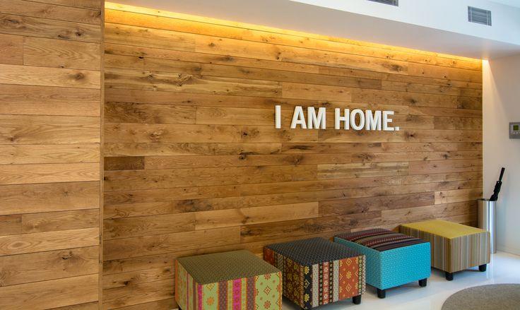 Leasing Office Entrance |Black's Farmwood FSC Certified White Oak Wall Paneling
