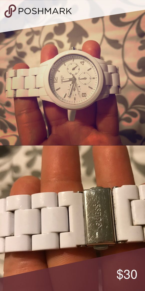 An all-white GUESS watch ✨ An all-white design gives this midsize timepiece a clean look, textured around the bezel with second indicators. Includes day, date and 24-hour functions. 💖worn a few times, minor scratches but in great condition. Also needs a new battery 🤗 Guess Accessories Watches