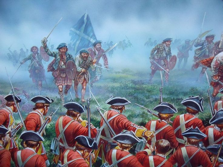 """bantarleton: """"I nearly squealed with excitement when I saw this - new (and beautiful art) of the battle of Culloden by Peter Dennis. """""""