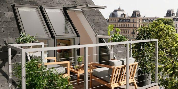 die besten 25 dachbalkon ideen auf pinterest dachbodenausbau preise dachfenster preise und. Black Bedroom Furniture Sets. Home Design Ideas