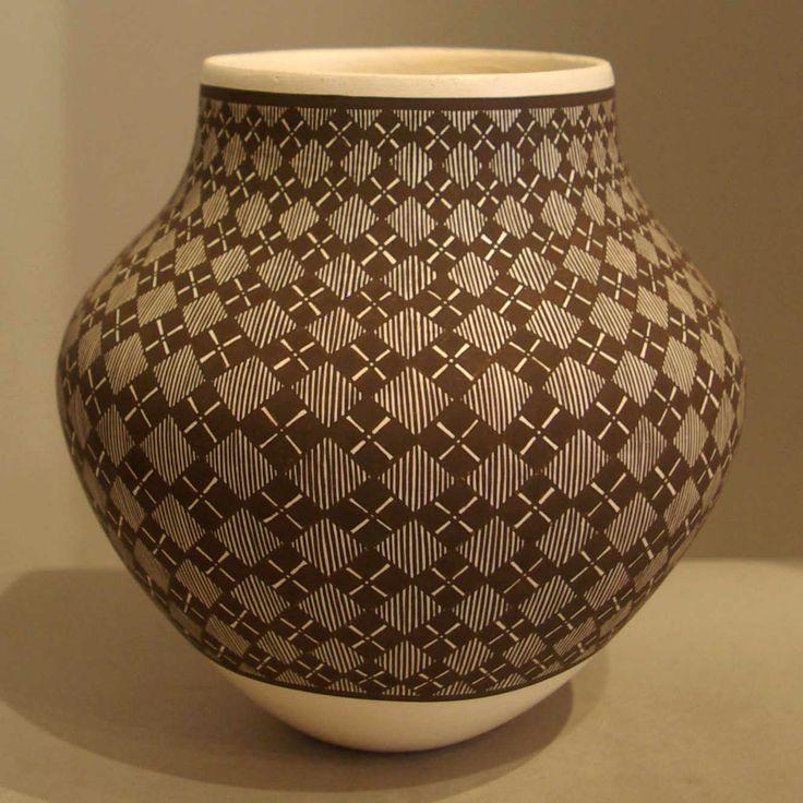 Pueblo: Acoma Artist: Amanda Lucario Date Created: 2013 Dimensions: 5 1/2 in H by 5 1/2 in Dia Item Number: xxach3181 Price: $ 1100 Description: Fine line and geometric design