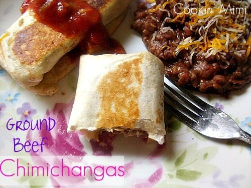 Ground beef chimichangas...these came out soo soo sooo good.  I could probably have them every night!