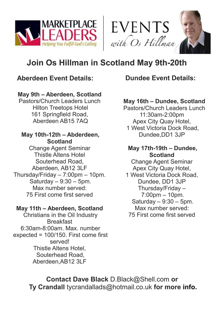 Os Hillman events in Scotland next month.