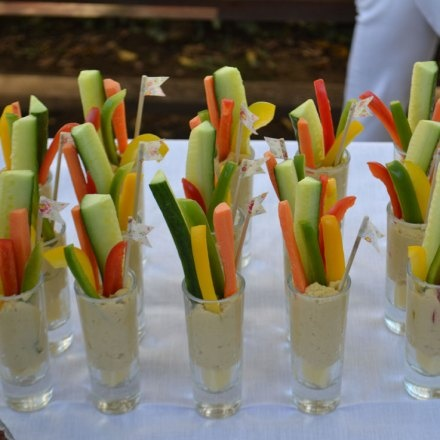 Party snack - veg and hummus in shot glasses