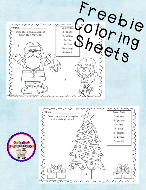 Free Christmas printables for preK, k, and 1st grade. TONS of great games, worksheets, coloring pages etc. color by number pages shown are on page 2.
