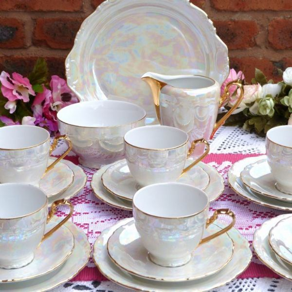 tea set mother of pearl effect vintage tea set  cakestandland co uk