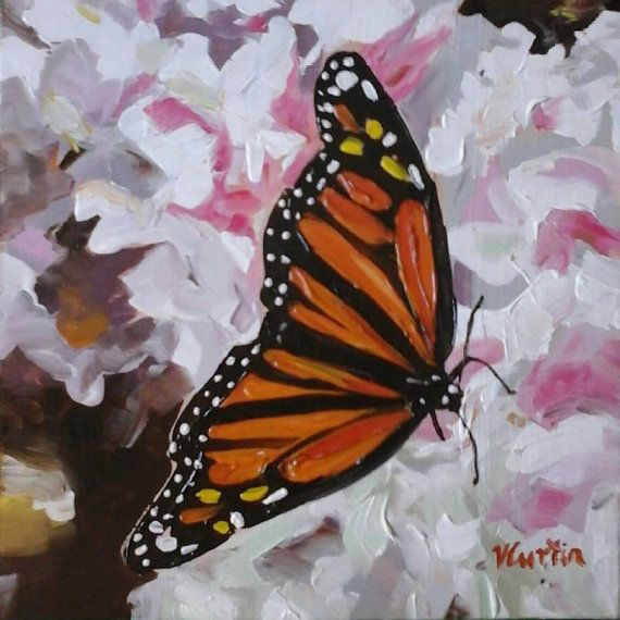 Monarch Butterfly  Original Oil Painting by Vicky by MyCoveArt