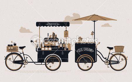 Carrinhos de bicicleta de café e sorvete — Ilustração de Stock #66481707
