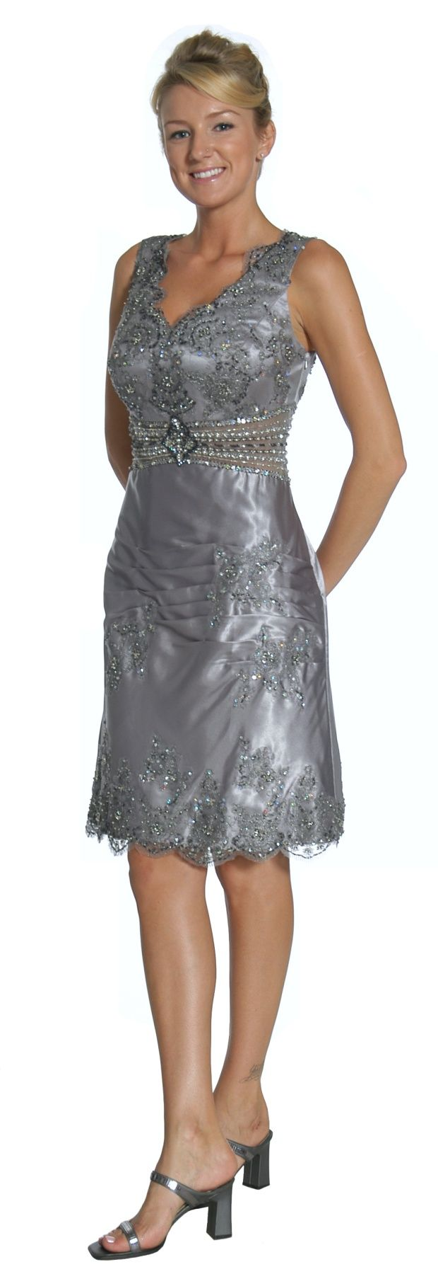 Silver Mother of the Bride/Groom Dress Short Knee Length Evening Gown (3 Colors …