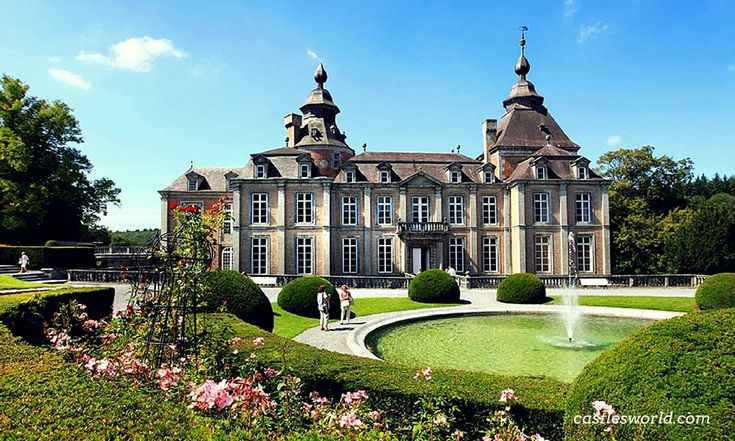 Chateau de Modave, Liege, Belgium One of the most prominent preserved examples of Baroque country-house architecture in the Low Countries. The castle has splendid interiors and it offers magnificent views over the surrounding nature reserve of 450 hectares