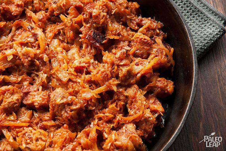 Bigos - Polish Hunter's Stew (add dried mushrooms, use mushroom water instead of sauerkraut water)