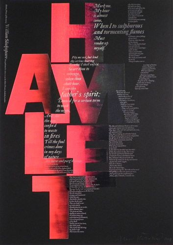 Love this design... However, I read the A first. Hamlet 2001 by Alan Kitching | Letter Press Print | Image and paper size: 84 x 59cm