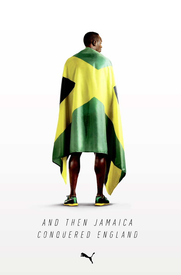 Puma Ad.  Honored to be the 2012 flag bearer for Jamaica during the opening ceremonies, Usain  Bolt went on to win gold in the men's 100 and 200 meters and anchored Jamaica to a world record in the 4x100 meter relay.