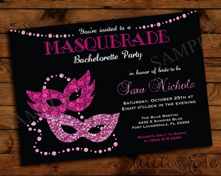 Masquerade Bachelorette Party Invitation - Girls Night Out Invite - Bridal Shower - Birthday Party Invite - Halloween - Printable - LR1022 by LittleRoseStudio on Etsy https://www.etsy.com/listing/200039707/masquerade-bachelorette-party-invitation
