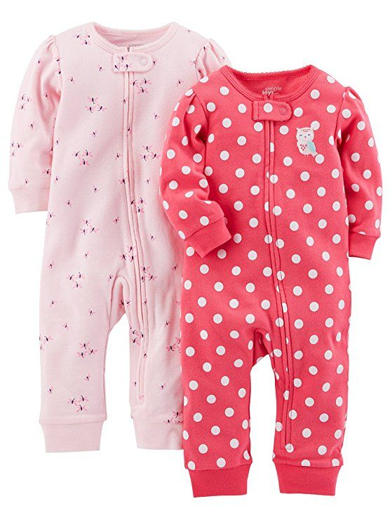 d56cb5ebc Simple Joys by Carter s Baby Girls  2-Pack Cotton Footless Sleep and ...