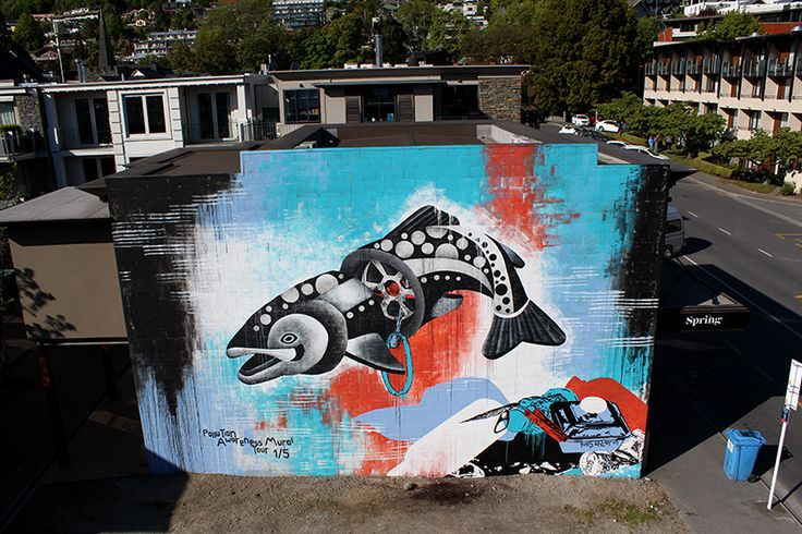 'Drainbow Trout' has been 10 days in the making, we have had the most amazing support from the community, surrounding business's and the owners of 10, 11 and 12 Earl St.  I hope that by doing this mural for Queenstown, we can motivate people to take there rubbish with them and respect the environment that surrounds us. Animals have no say but we do!  NEW ZEALAND'S WORTH LOVING