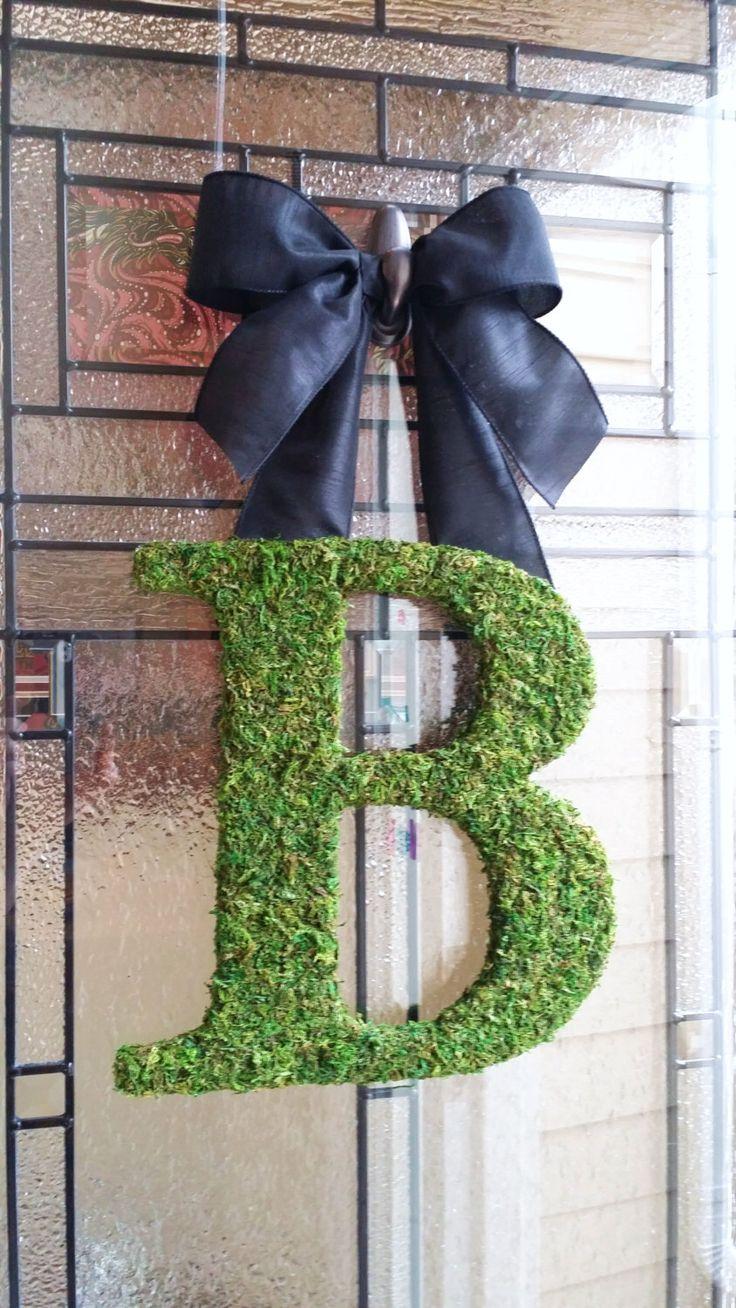 "Moss Initial Wreath,with Black Ribbon,12"" Door Moss Initial Wreath,Wedding Monogram Initial,Church Door Letter,Nursery Letter,Rustic Wedding by SentimentalDecor on Etsy https://www.etsy.com/listing/215947688/moss-initial-wreathwith-black-ribbon12"