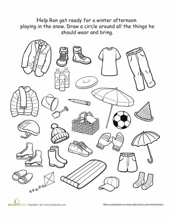 Worksheets: How to Dress for Winter