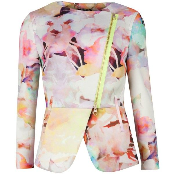 Ted Baker Saamsa Electric Daydream Biker Jacket, Print found on Polyvore