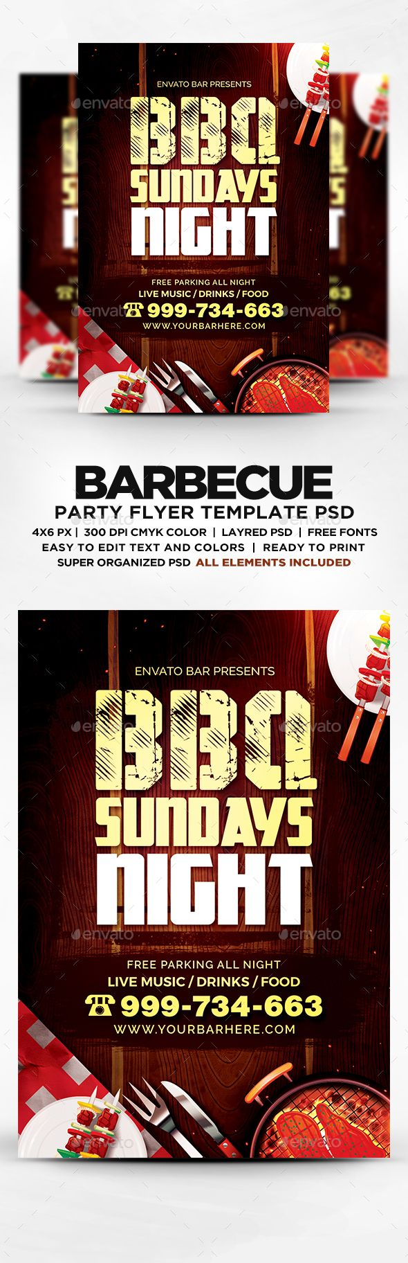 Best Bbq Flyer Templates  Psd Images On   Flyer