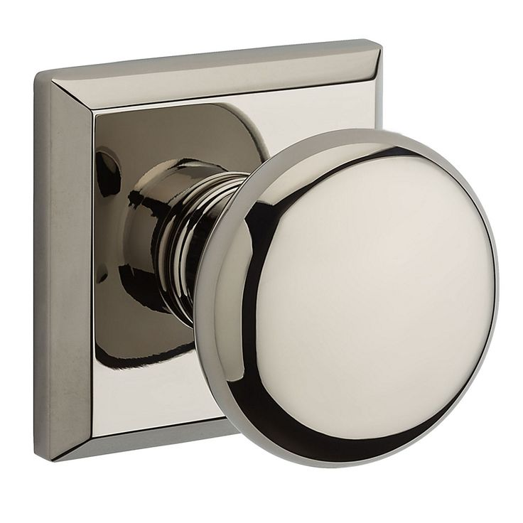 TSR Round Privacy Knobset With Traditional Square Rose Polished Nickel  Knobset Privacy