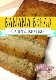 Moist Gluten Free Dairy Free Vegan Nut Free Banana Bread from Jillian Does Food, healthy food blogger.