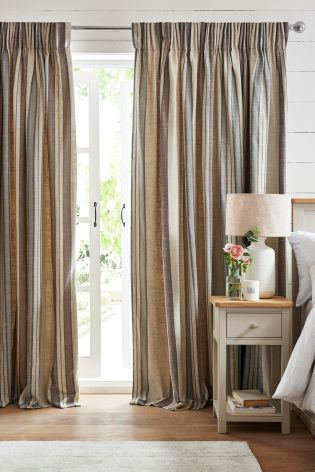 Buy Country Luxe Natural Woven Stripe Linen Pencil Pleat Curtains from the Next UK online shop