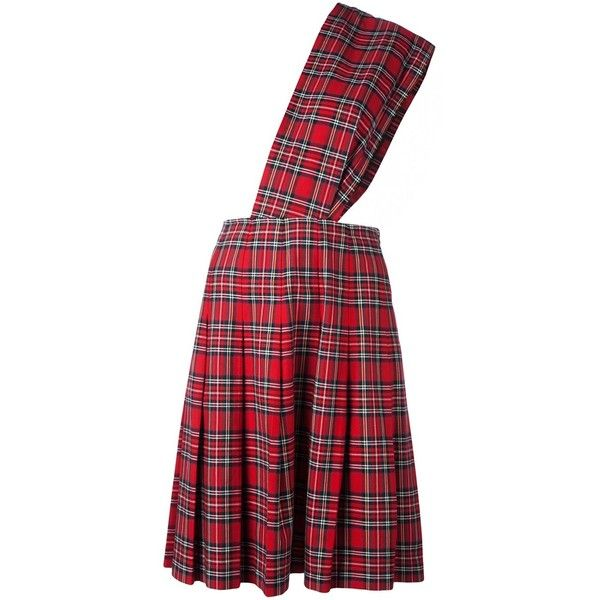 Comme Des Garçons Vintage kilt dungaree skirt ($784) ❤ liked on Polyvore featuring skirts, comme des garçons, red, red pleated skirt, red checkered skirt, checkered skirt, red print skirt and checked skirt