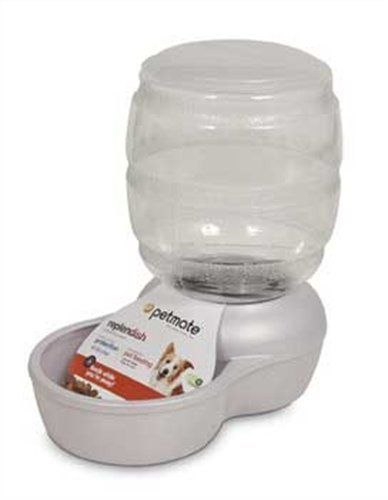 Petmate 24477 Replenish Pet Gravity Feeder with Microban, 10-Pound Capacity (Pearl White)