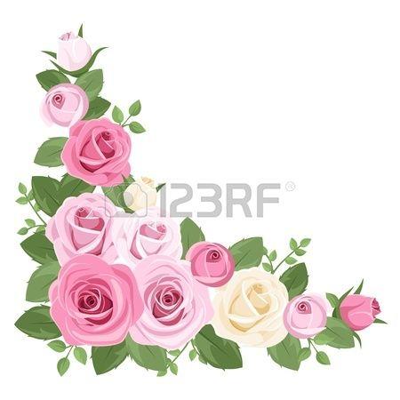 18291121-분홍색과-흰색-장미,-장미-꽃-봉오리와-잎.-벡터-일러스트-레이-션..jpg (450×450)