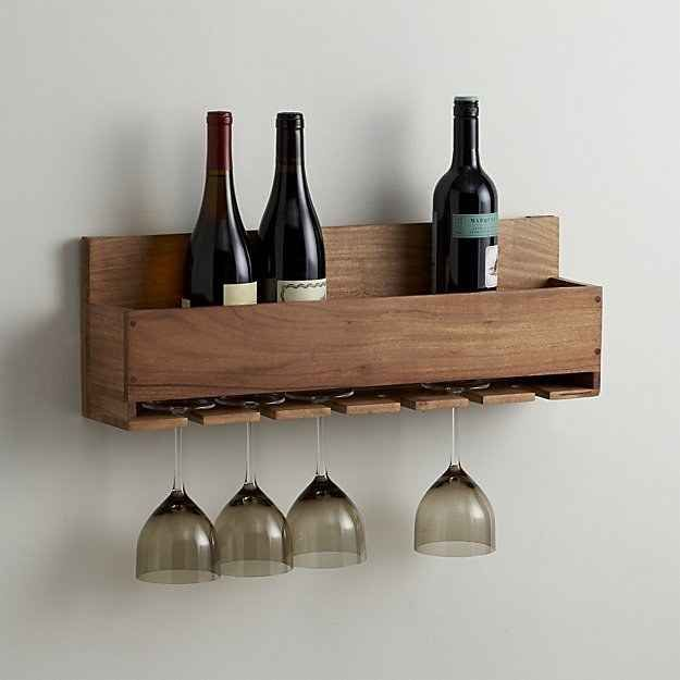 This rack that will hold wine glasses *and* bottles ($49.95). I can make this for cheaper.
