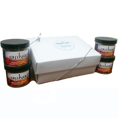 Ajika Seafood Lovers Holiday Gift Set, 16-Ounce. Included in our Seafood Spice Gift Set: -Malabar Coconut Spice Blend-Konkani Spice Blend-Morrocan Spice Blend-Panchporan Spice Blend. Call ethnicfoodsco at 952-593-3000 for customer service. The specialties of thevarious regions of India included in the gift set represent an opportunity for the chef inyou to create new and exciting dishes. Packaged in a holiday candy stipped attractive gift box, your gift is sure to be appreciated!