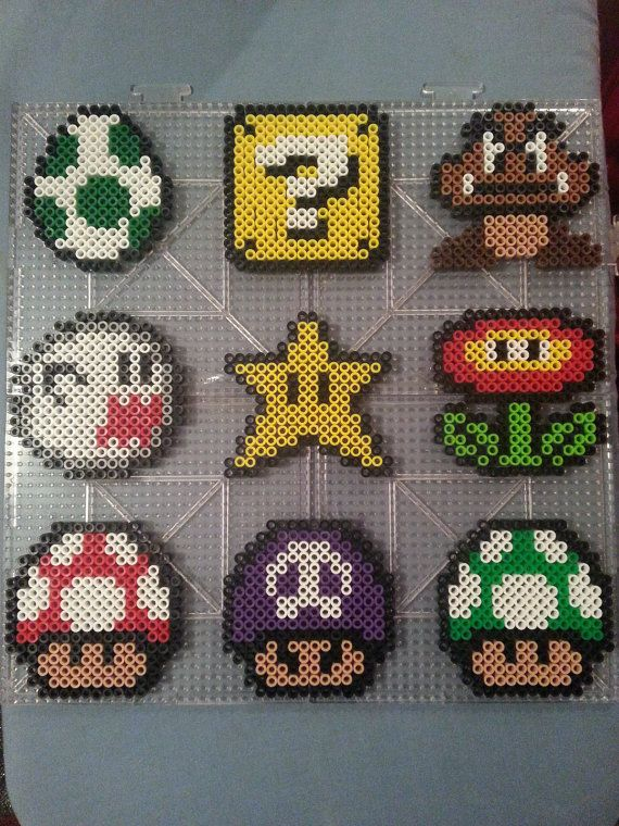 Mario Perler Bead Magnets & Ornaments by AshMoonDesigns on Etsy, $3.00 https://www.etsy.com/shop/AshMoonDesigns