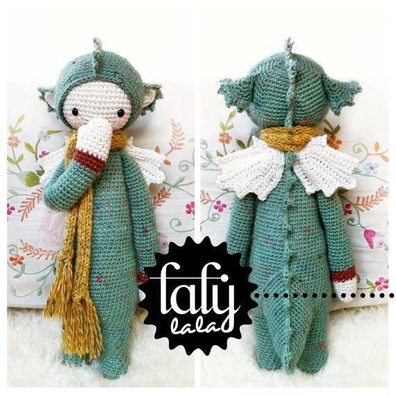 Crochet Pattern Doll DIRK the dragon / dinosaur PDF by lalylala
